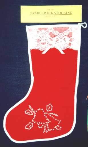 Christmas candlewick stocking