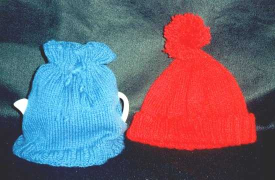 Knitted tea cosy and hat
